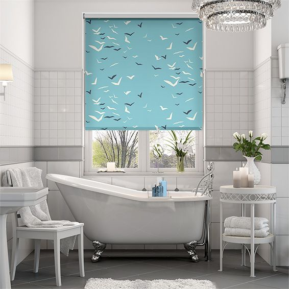 100 Waterproof Bold Colour And A Fun Design Well Doesn T This Splash Flight Powder Blue Roller Blind Have It Wooden Blinds Blinds Design Living Room Blinds