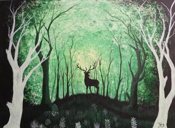 Deer Forest Original painting Glow in the Dark Art by TrueAcrylics