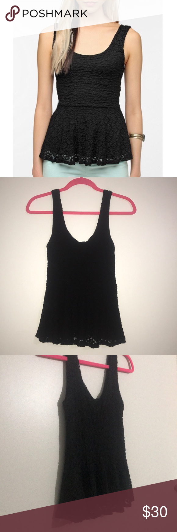 0345a1d3aeade9 Black Pins and Needles Daisy Lace Peplum Top Black lace peplum tank top  from Urban Outfitters