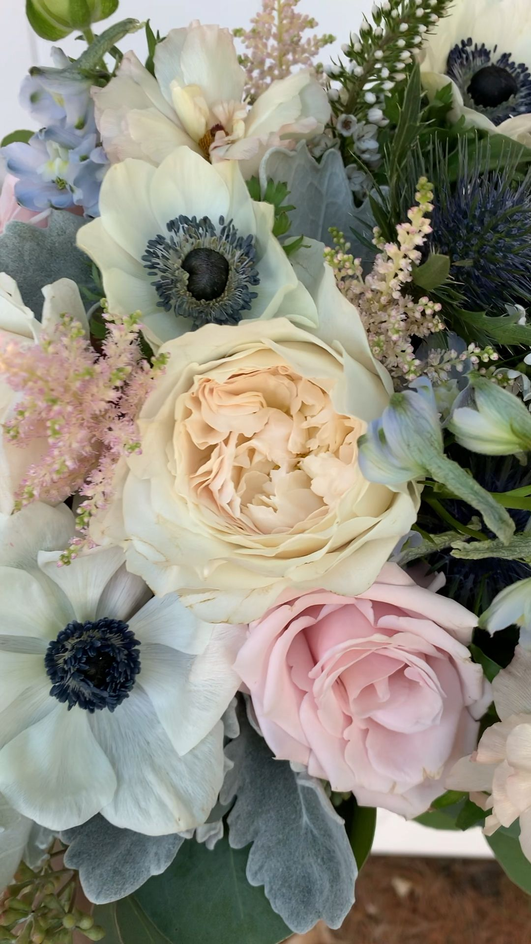Blush, Blue, Ivory and Dusty Grey Bridal Bouquet