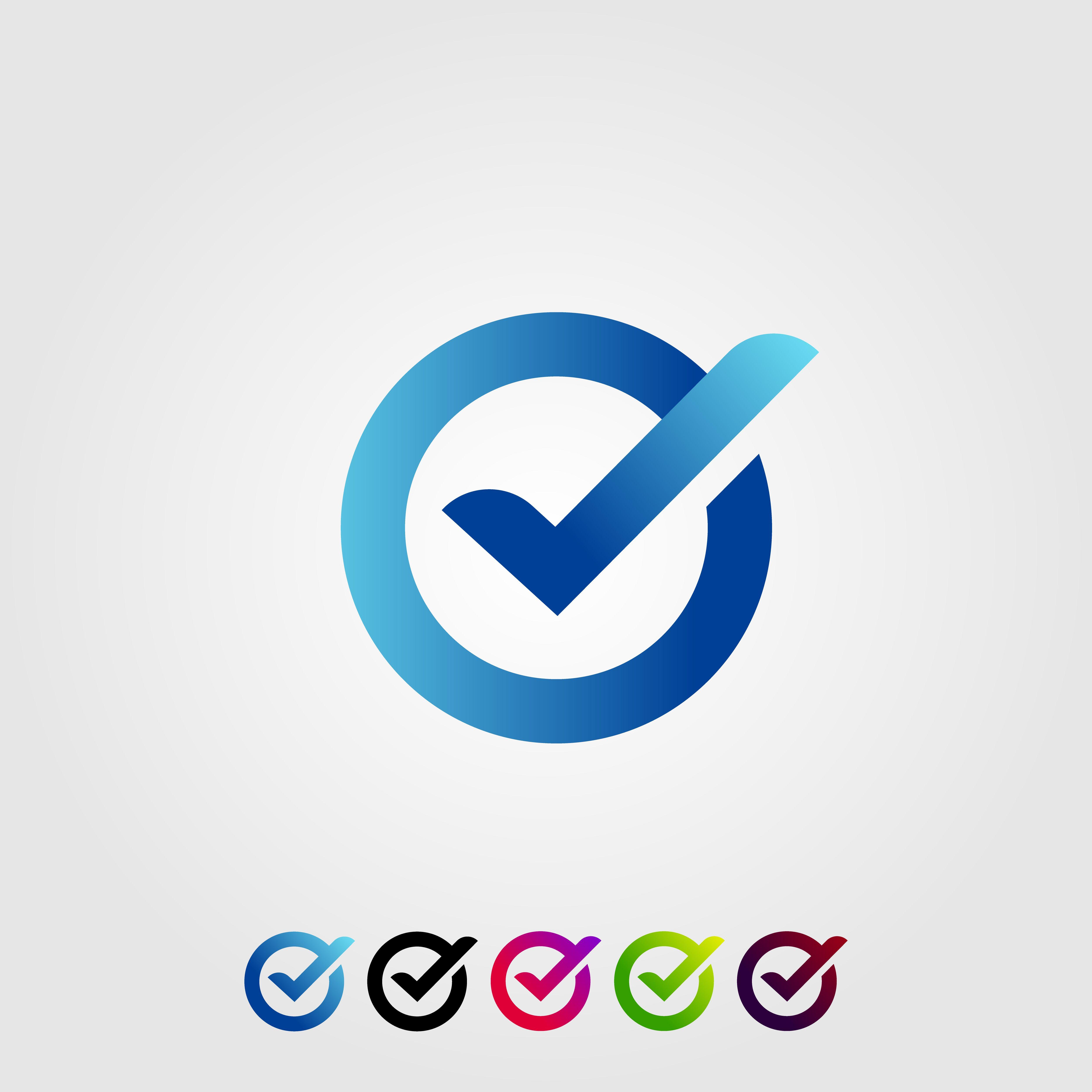 letter, o, check, verified, modern, logo, design, icon