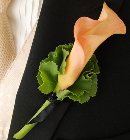 For Him Boutonniere| Orange Calla Lily Boutonniere | Rose Boutonniere | Wedding Boutonniere | Groom Boutonniere | Groomsmen Boutonnieres | Buy Boutonniere at BunchesDirect