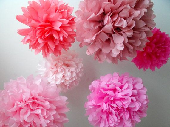 Paper Pom Poms 7 Poms Choose Your Colors By Pomtree On Etsy 28 00 Paper Flowers Wedding Paper Pom Poms Paper Flowers
