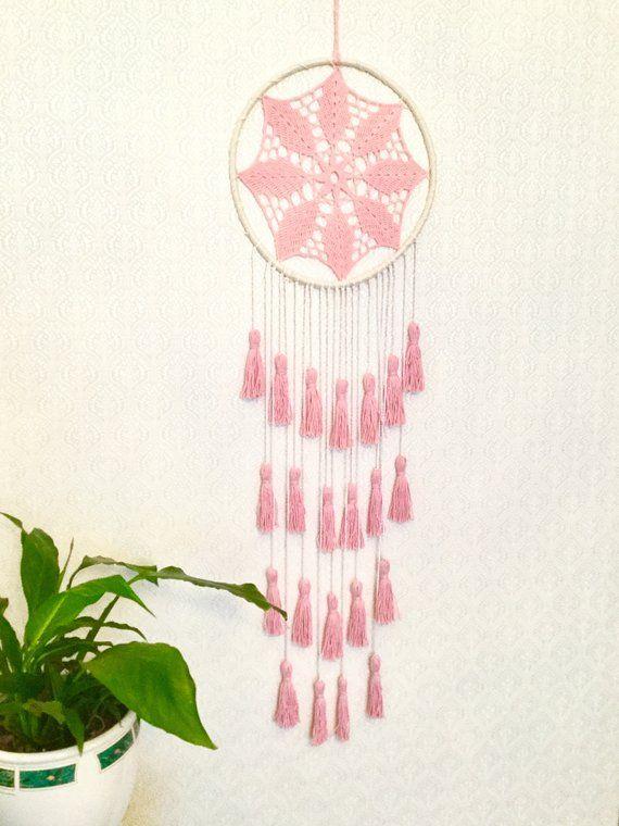 Blush rosa Dream Catcher borla pared gran atrapasueños rosa   Etsy