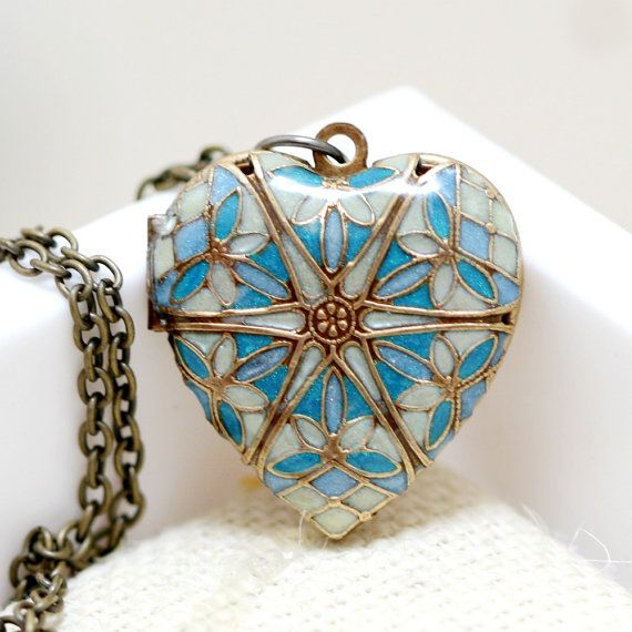 Locket,Heart locket,Jewelry Gift,Brass Locket,Resin Locket,Filigree Locket,Blue…