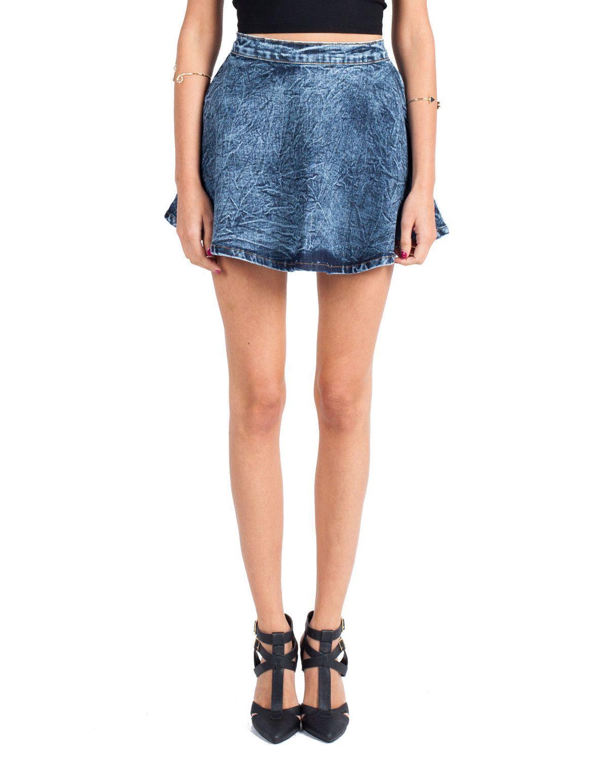 Denim Skater Skirt - Large