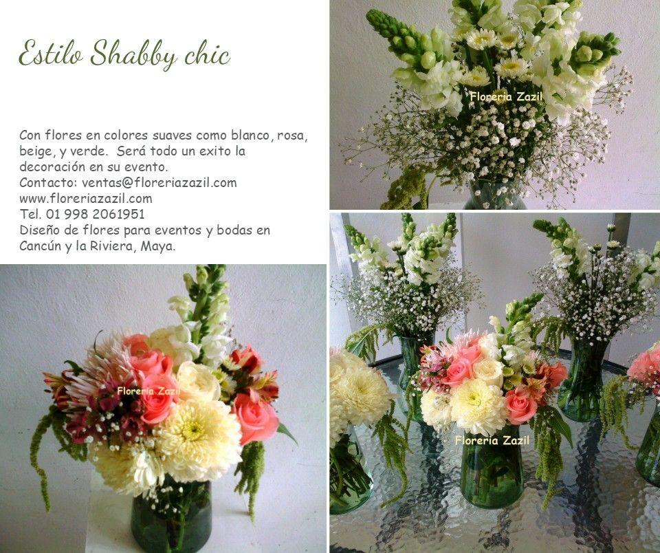 Flores para bodas en Cancún y Riviera Maya con estilo Shabby Chic. #Shabbychicstyle #cancunweddingflowers