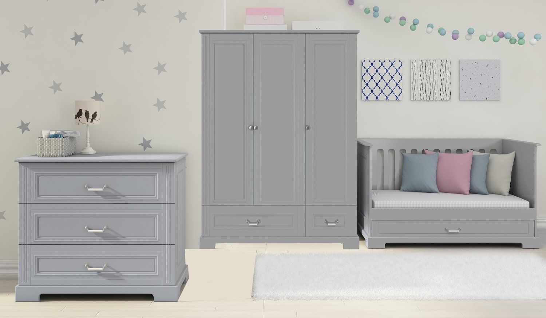 Großes Kinderzimmer Ines grey mit 3-türigem Schrank Bellamy ...