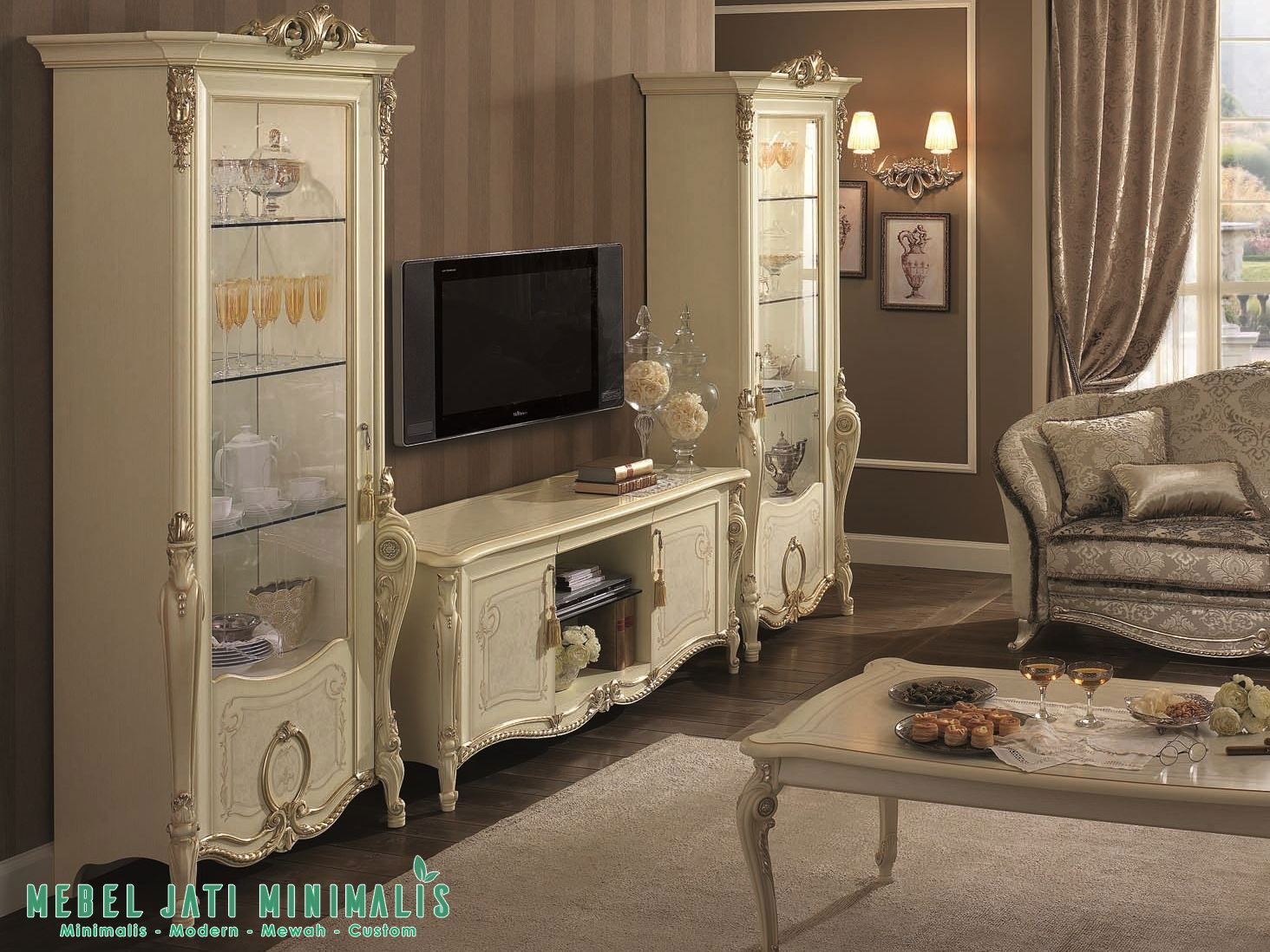 Bufet Tv Lemari Hias Mewah Putih Ruang Tamu Set Bufet Tv