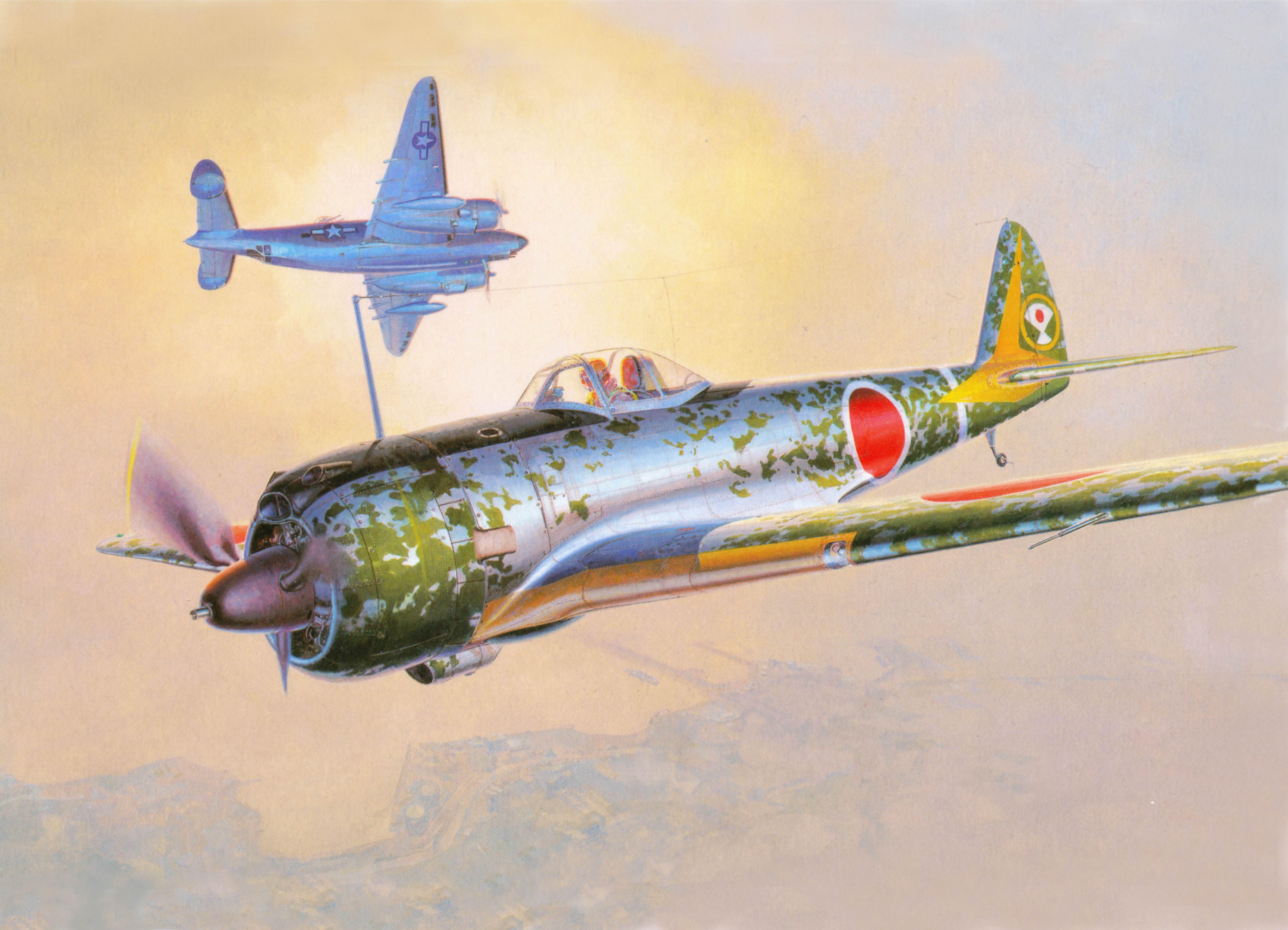 飛行機 描かれた壁紙 Ki 43 航空 飛行機アート ミリタリーアート 航空アート