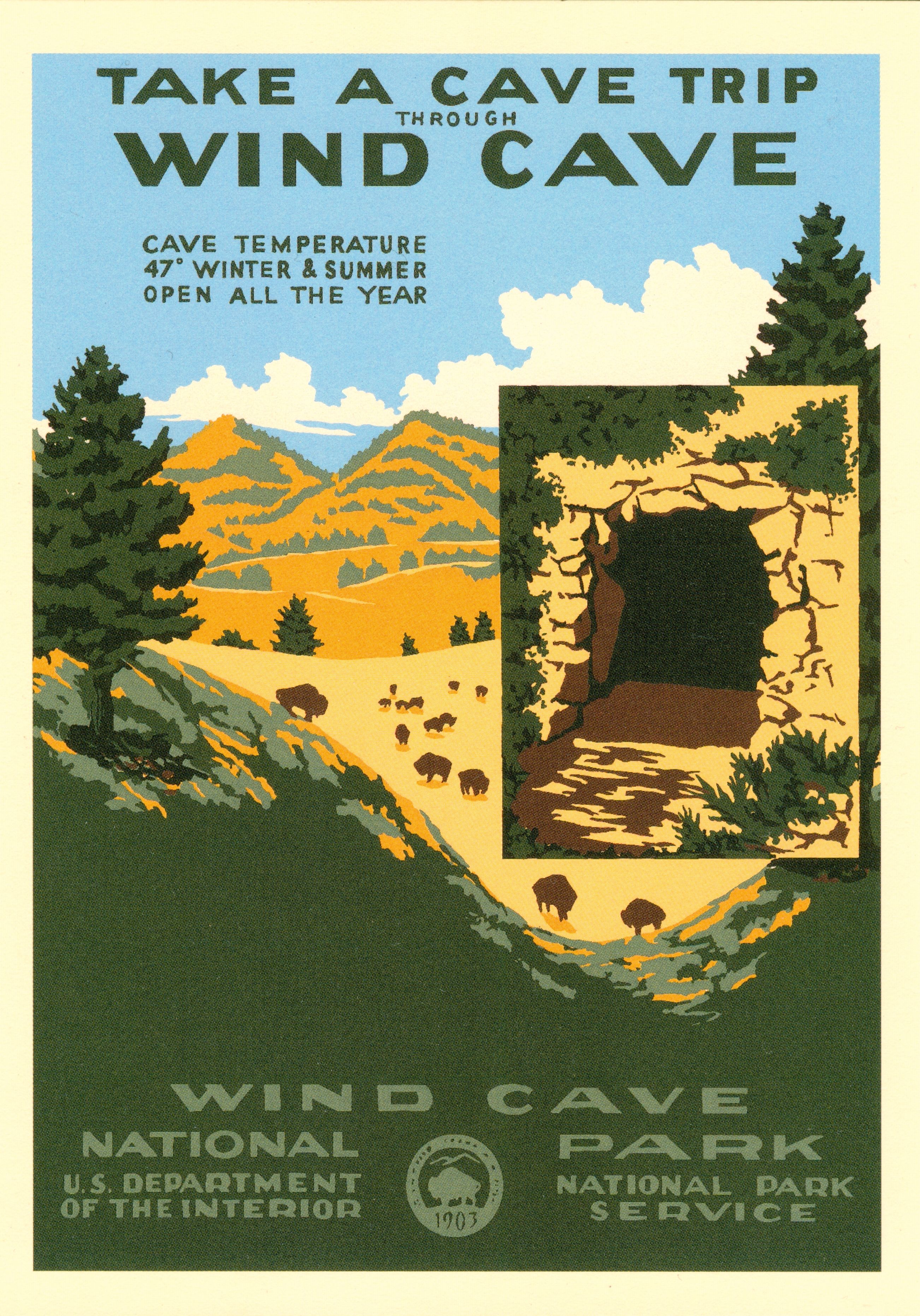 Wind Cave Parks Wind Cave National Park Vintage National Park Posters National Park Posters