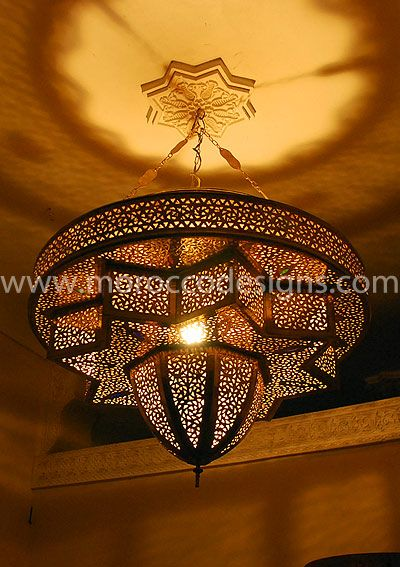 Moroccan Inspired Star Hole Punch Lamp Metal Boho Chandelier Light