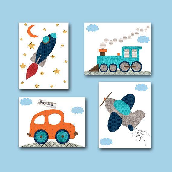 Car Nursery Rocket Nursery Baby Boy Nursery Decor Children Art Print Baby Nursery Print Set of 4 Plane Nursery Train Nursery Gray Blue