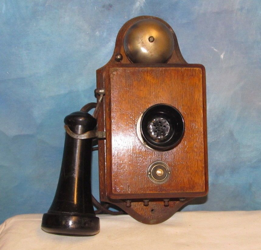 Vintage Antique Wall Mount Telephone Phone Ringer Box W Bell