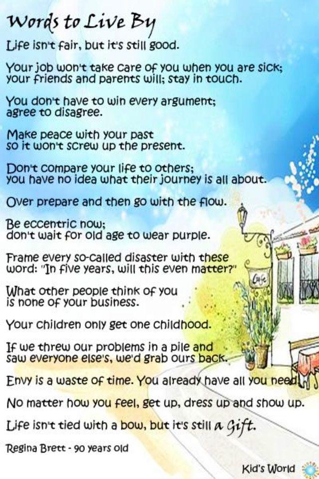 Words to Live By ~ Regina Brett 90 yrs old