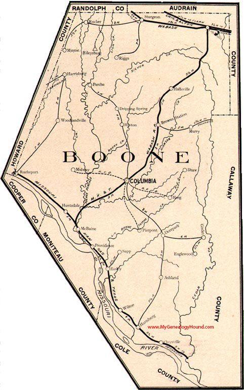 Boone County Missouri 1904 Map Columbia Hallsville Rocheport