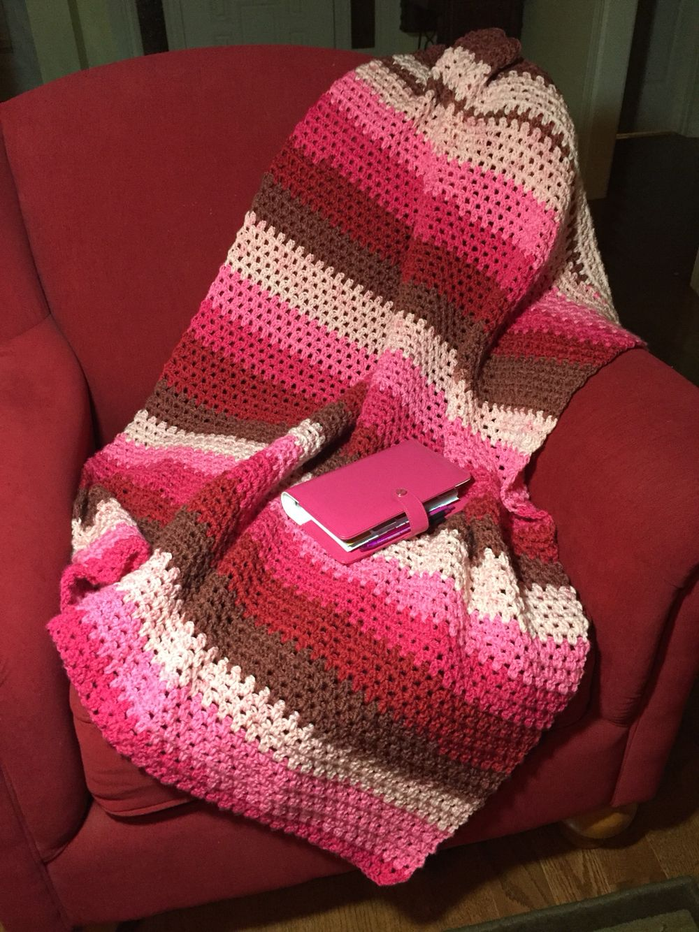 A two double crochet lap blanket i made with the new caron