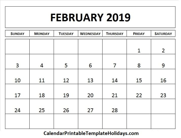 Pin by 2019Calendarprintabletemplate on February 2019 Calendar