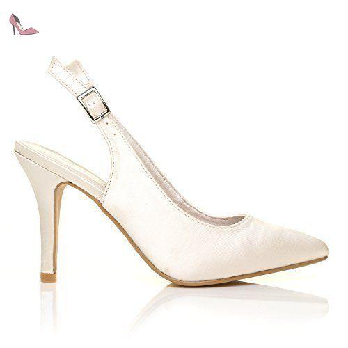 ShuWish UK - Chaussures Ivoire Satin Stiletto Haut Talon À Lanière Arrière  Pour Mariée Modèle FAITH 7a2ac590d56c