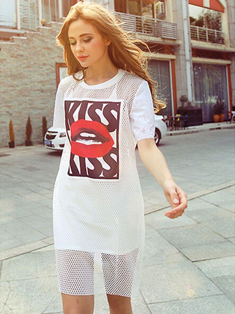 White letter and lip print short sleeve mesh dress with vest mesh
