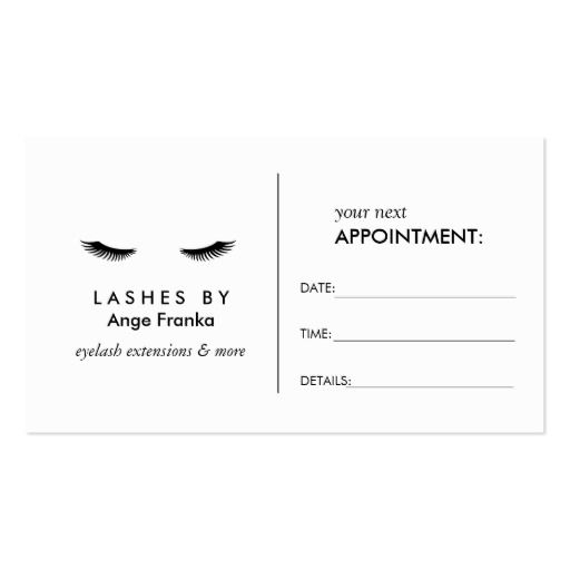 Glam Eyelashes Black And White Appointment Card Zazzle Com In 2021 Eyelash Extensions Business Card Appointment Appointment Cards