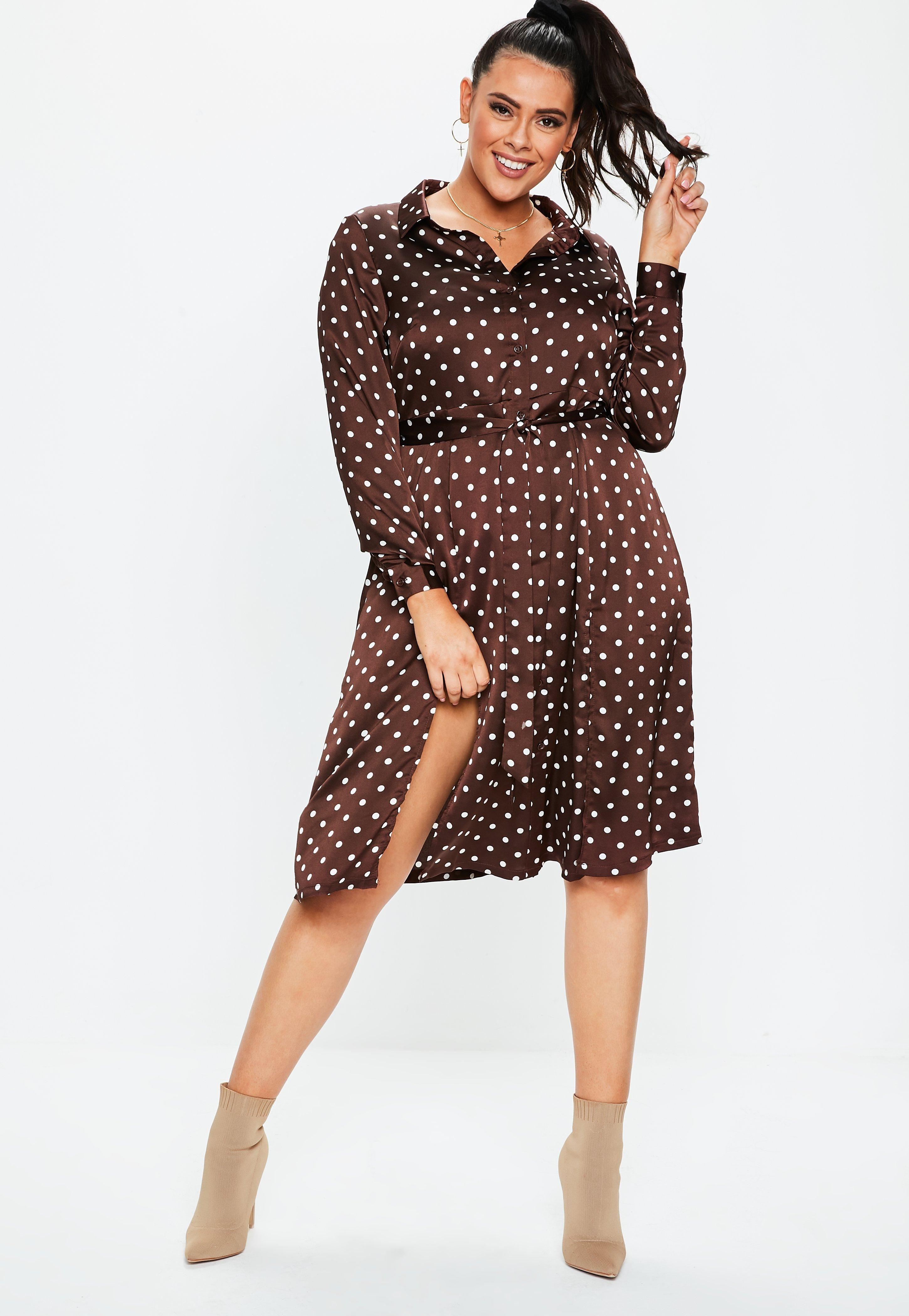 Plus Size Brown Polka Dot Satin Midi Shirt Dress | Summer ...