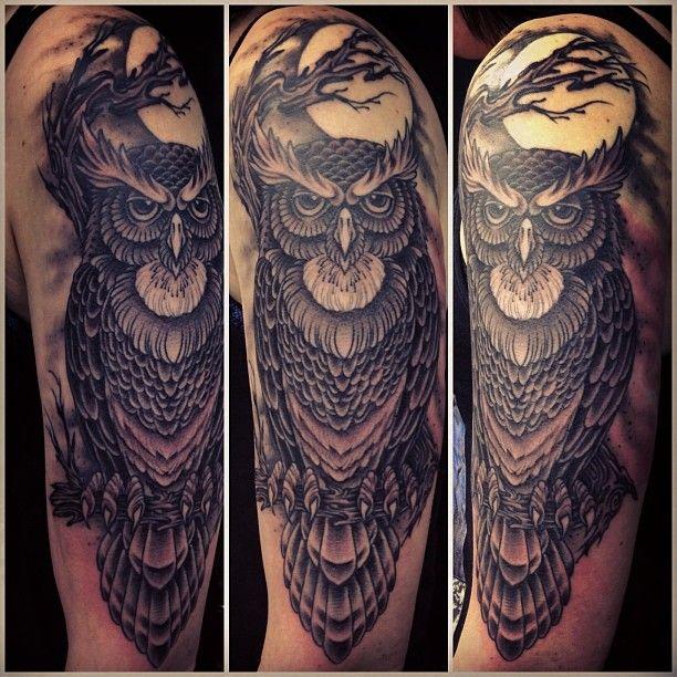 Owl half sleeve - By Mark Lonsdale, Sydney Australia ...
