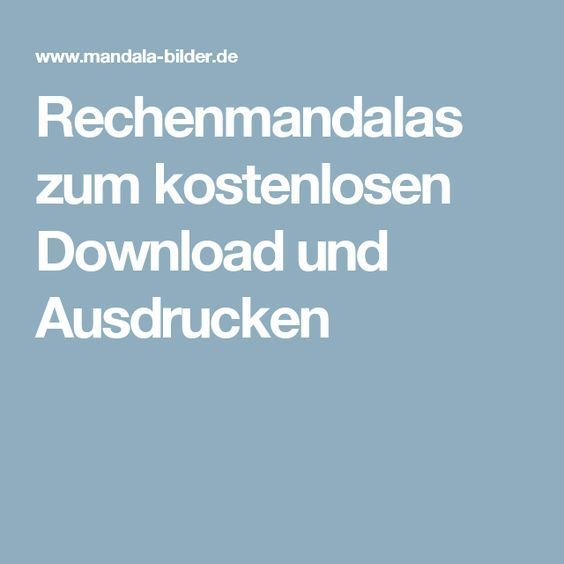 Rechenmandalas zum kostenlosen Download und Ausdrucken | Ergo ...