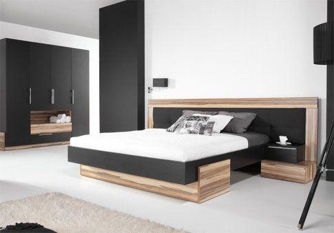 Lit Design Adulte Places BLACK Noir Lit Avec Tête De Lit Et - Lit 2 places noir