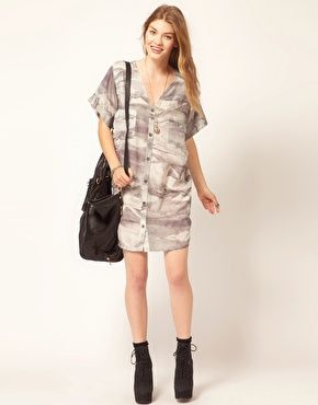 Gestuz Printed Buttondown Shirt Dress