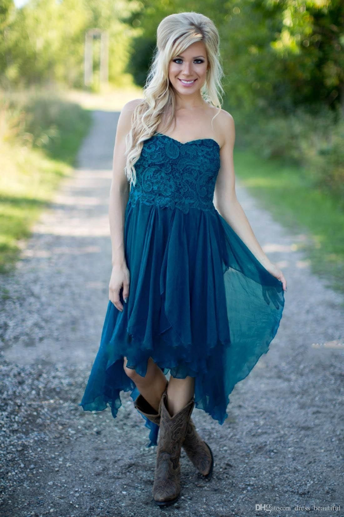 Country bridesmaid dresses short hot cheap for wedding teal