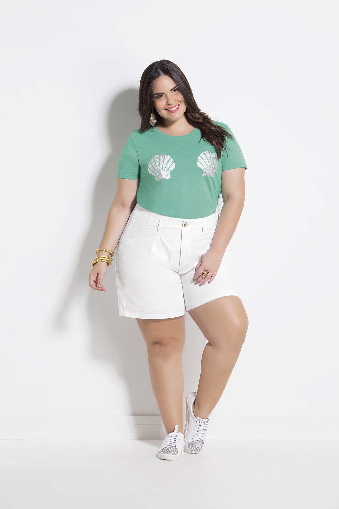 e8a0a78d8a T-Shirt Turquesa Estampa Plus Size Marguerite | gg | Shirts, Plus ...