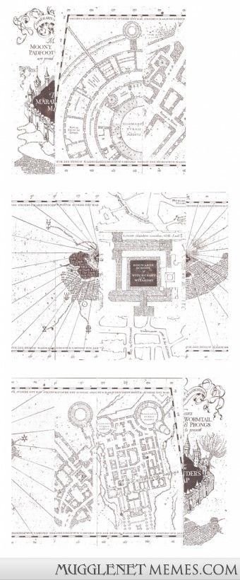 Print, stain with tea and stick together - and you've got yourself a replica Marauders Map!