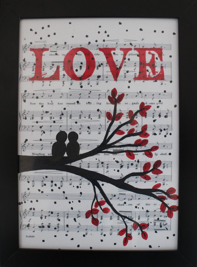 love birds, music sheet, nodes, diy