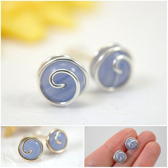 ba15692b2 10mm blue lace agate post earrings rosebud spiral stud earrings gemstone  925 sterling silver or 14k
