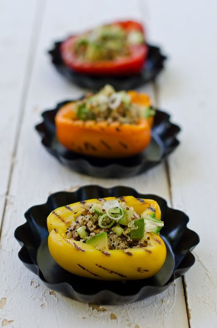 Quinoa Salad with Avocado and Pecans with Grilled Peppers
