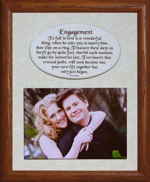 8x10 ENGAGEMENT ~ Photo & Poetry Frame w/Cream Mat ~ Holds 5x7 Photo ...