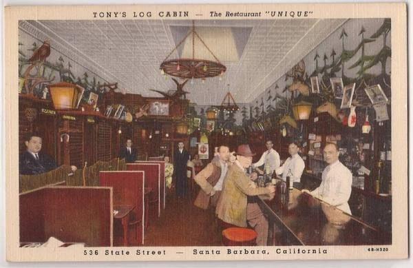 1940s Santa Barbara CA Postcard TONYu0027S LOG CABIN Restaurant Bar Linen Unused
