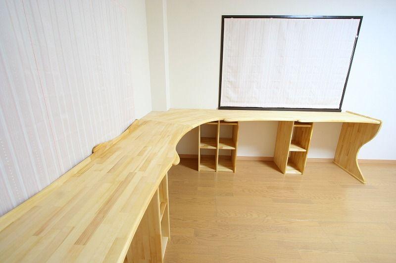 造作カウンター 子供部屋 作り付け勉強机 無垢材 純工房 造作