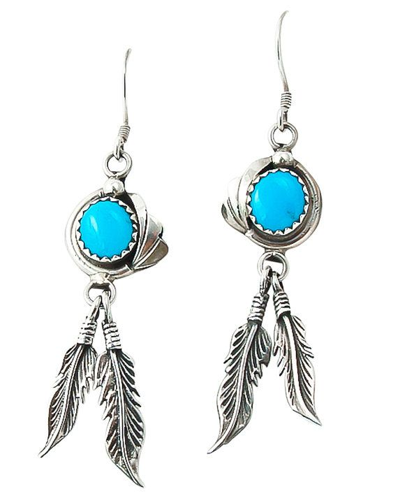 Navajo Turquoise Feather Silver Dangle Earrings Jewelry
