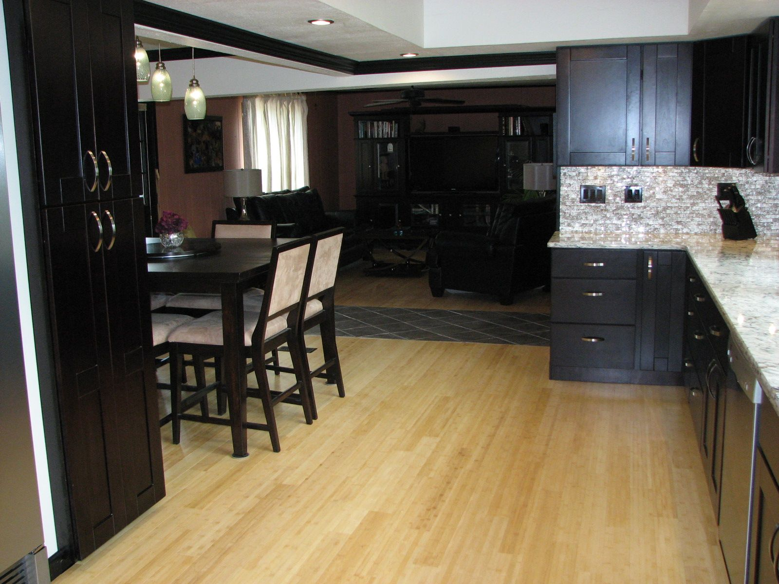Scenic Dark Wood Cabinets With Black Chairs Frame And Square Dining Table In As Decorate Open Interior Modern Home Ideas