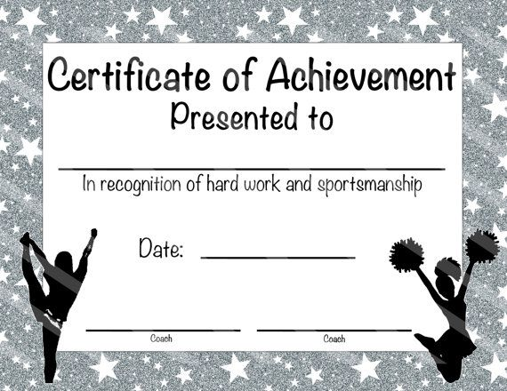 cheerleading certificate cheerleading award cheerleading diy cheerleading printable cheerleading achievement end of season award