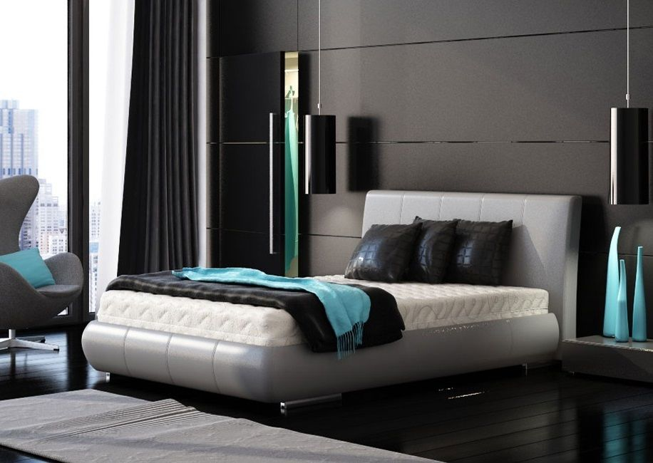 Schlafzimmer Einrichtungsideen · Türkis Kopfteil · Schwarz Kopfboard ·  бирюзовый дизайн