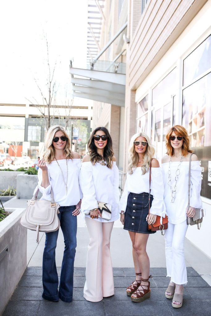 Dallas Fashion Bloggers - Chic at Every Age Outfits - White Off the Shoulder Top