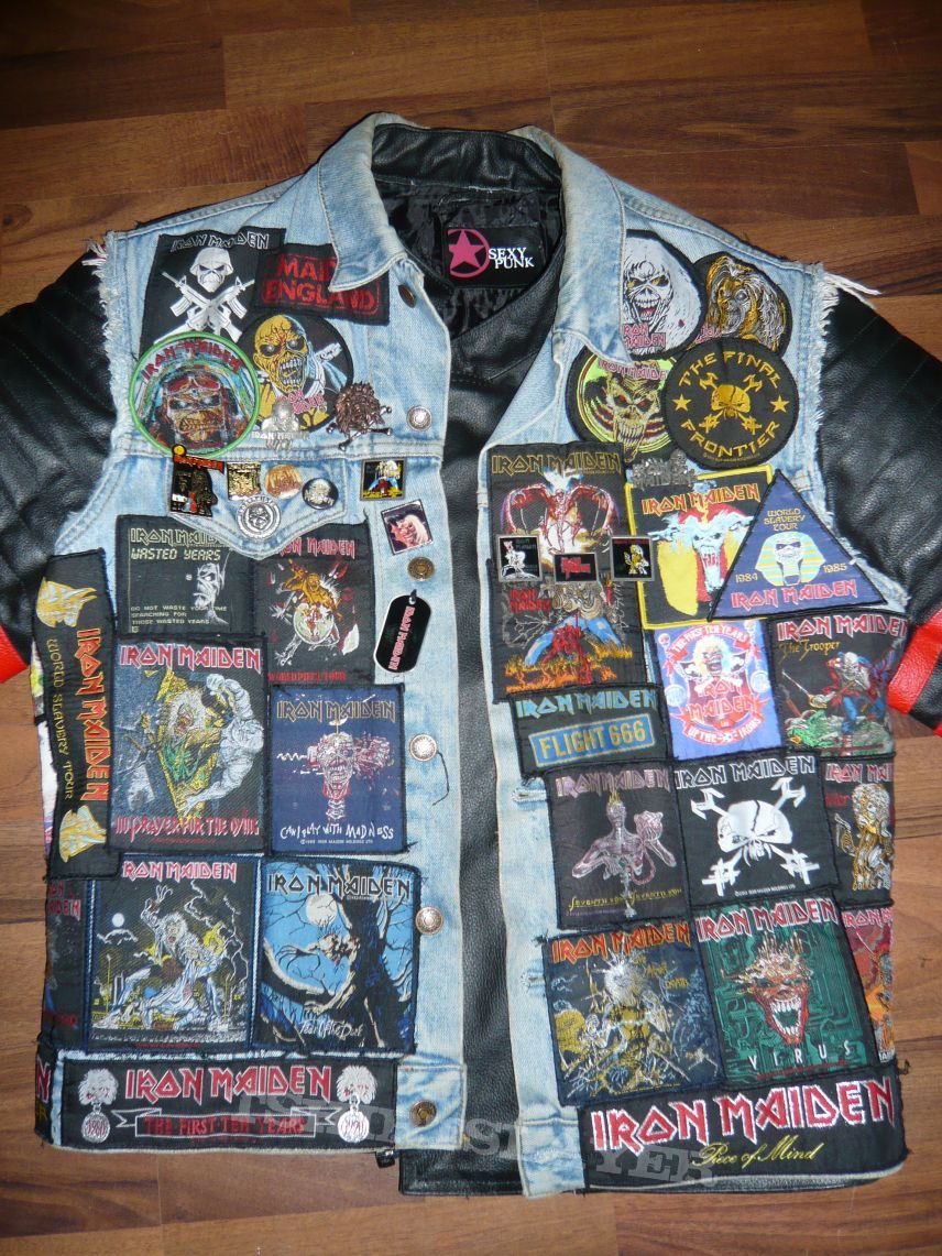 Iron Maiden Tribute Battle Jacket Battle Jacket Jackets Grunge Jacket [ 1141 x 856 Pixel ]