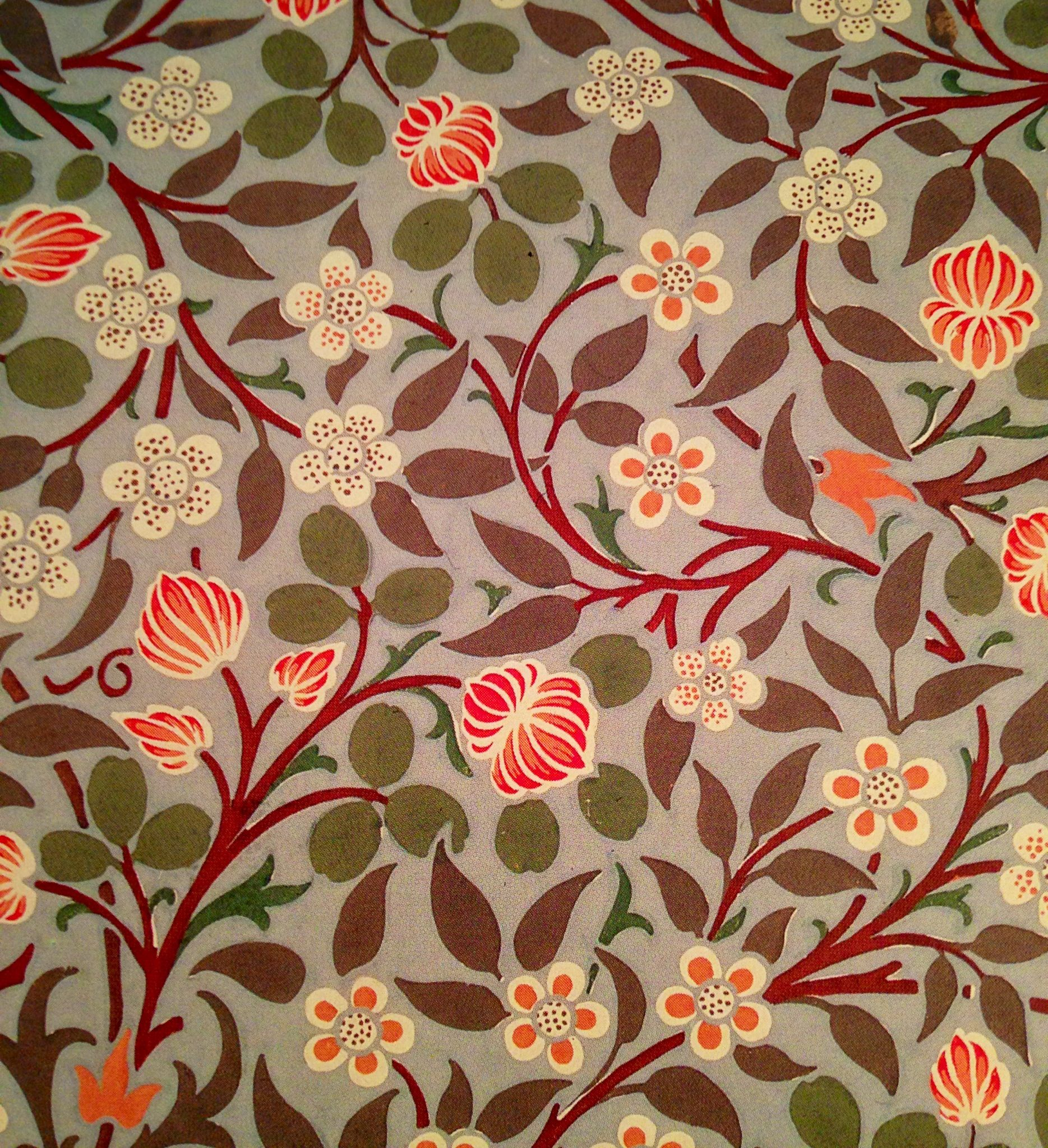 William Morris. wall paper colors flowers leaves red