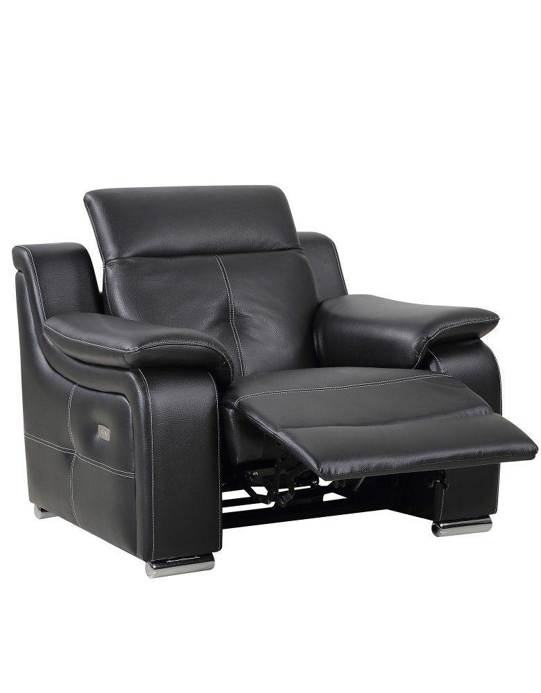 Fauteuil cuir noir relax électrique CITY canapé