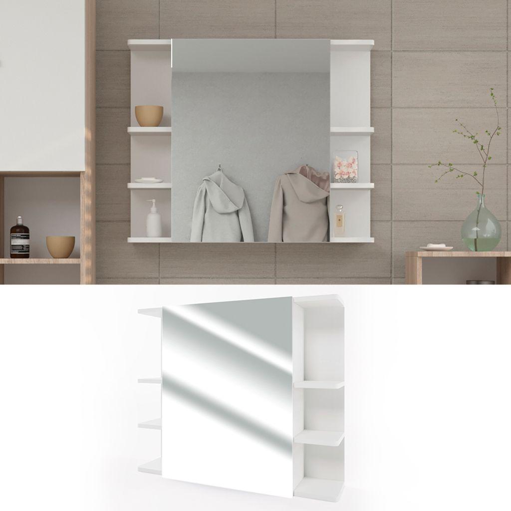 Spiegelschrank FYNN 80 x 64 cm Weiß Badezimmerspiegel