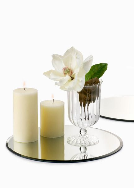 Coffeetable Centerpiece Mirror Diy Candle Wineglass Flowers Home Decor Candle Decor Spring Candles Centerpieces Spring Candles