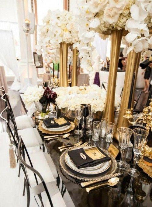 55 Super Elegant Black And Gold Wedding Ideas Gatsby Wedding